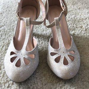 T strap gold kitten heels